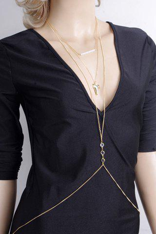 Chic Sharp Tooth Shape and Rhinestone Embellished Women's Body Chain - GOLDEN