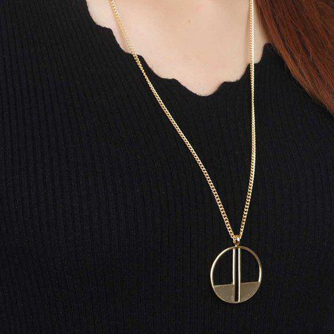 Hollow Out Round Door Shape Pendant Necklace - GOLDEN