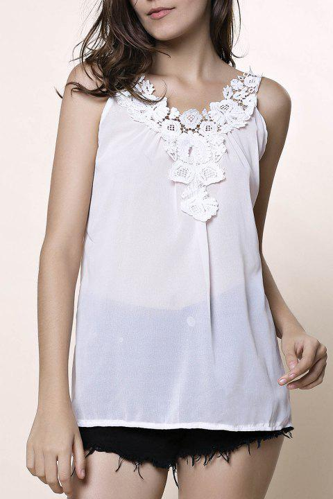 Stylish V-Neck Sleeveless Hollow Out Laciness Women's Tank Top - WHITE M