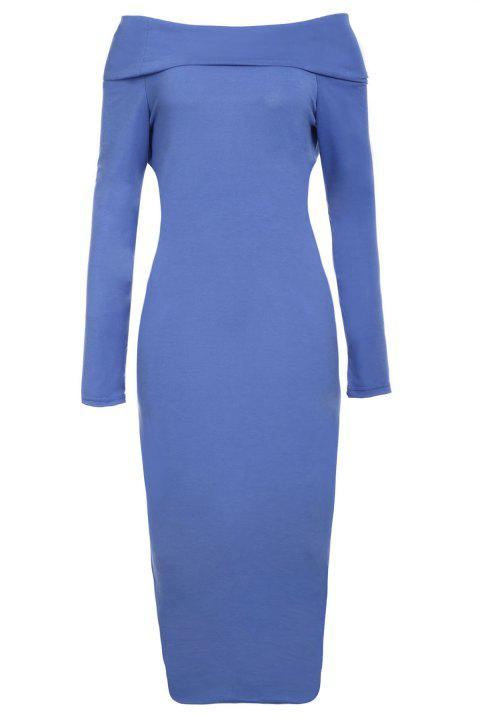 Sexy Off-The-Shoulder Long Sleeve Bodycon Solid Color Women's Dress - BLUE L