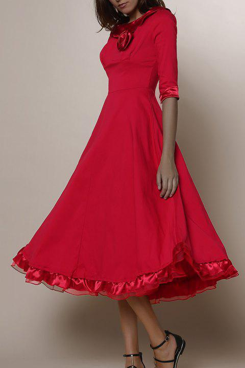 Vintage Solid Color Round Collar Flounced 3/4 Sleeve Dress For Women - RED M