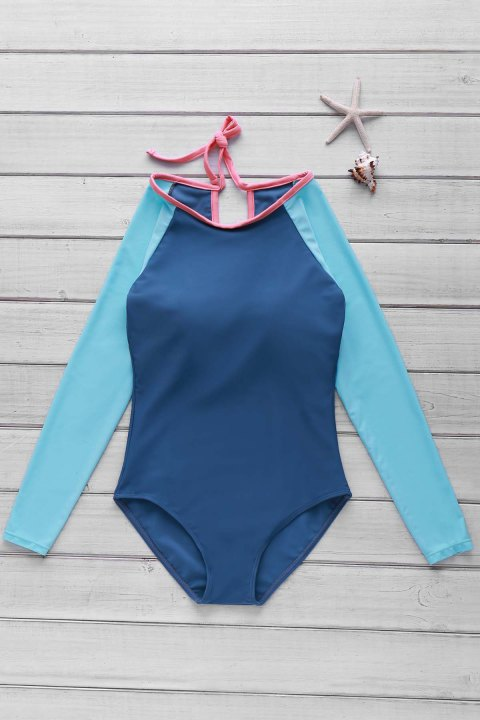 Stylish Scoop Neck Long Sleeve Women's Hollow Out One-Piece Swimsuit - LAKE BLUE L