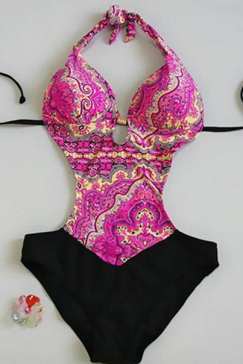 Fashionable Printed Halter Openback Women's Swimsuit - PINK S