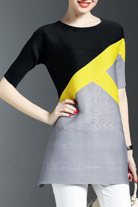 Elegant Women's Scoop Neck Short Sleeves Color Block Dress - BLACK ONE SIZE(FIT SIZE XS TO M)