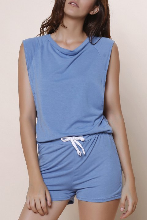 Fashioanble Women's Scoop Neck Sleeveless Solid Color Drawstring Romper - BLUE M