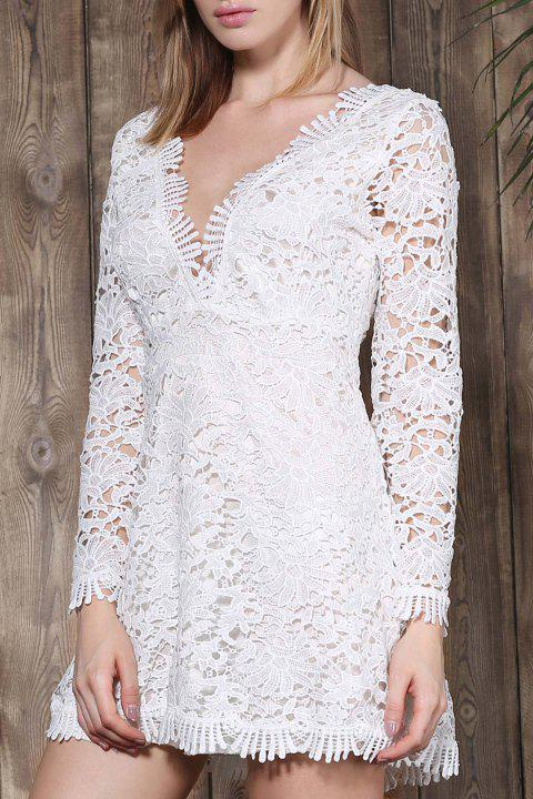 Cut Out Plunging Neck Long Sleeve Lace Dress