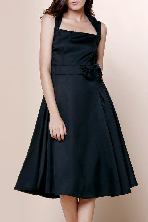 Vintage Turn-Down Collar Sleeveless Bowknot Embellished Solid Color Women's Dress - BLACK L