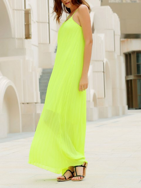Fashionable Round Collar Solid Color Crumple Sleeveless Maxi Dress For Women - NEON GREEN ONE SIZE
