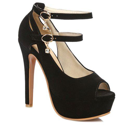 Stylish Hollow Out and Double Buckle Design Women's Peep Toe Shoes - BLACK 35