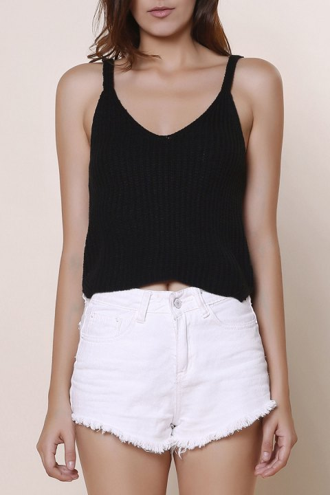 Sexy Women's V-Neck Solid Color Knitted Crop Top - BLACK ONE SIZE(FIT SIZE XS TO M)
