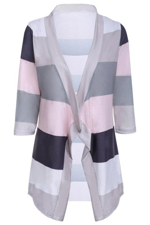 Chic Striped Collarless 3/4 Sleeve Irregular Asymmetric Cardigan For Women - GRAY S