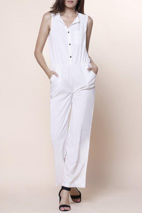 996d0faabae Stylish V-Neck Sleeveless Wide Leg Button Design Women s Jumpsuit - OFF  WHITE M