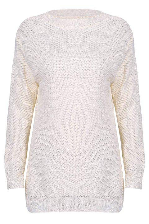Stylish Scoop Neck Long Sleeve Loose-Fitting Solid Colour Women's Sweater - OFF WHITE M