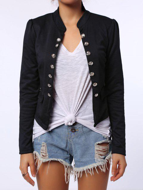 Stylish Long Sleeve Stand-Up Collar Double-Breasted Women's Blazer - BLACK ONE SIZE(FIT SIZE XS TO M)