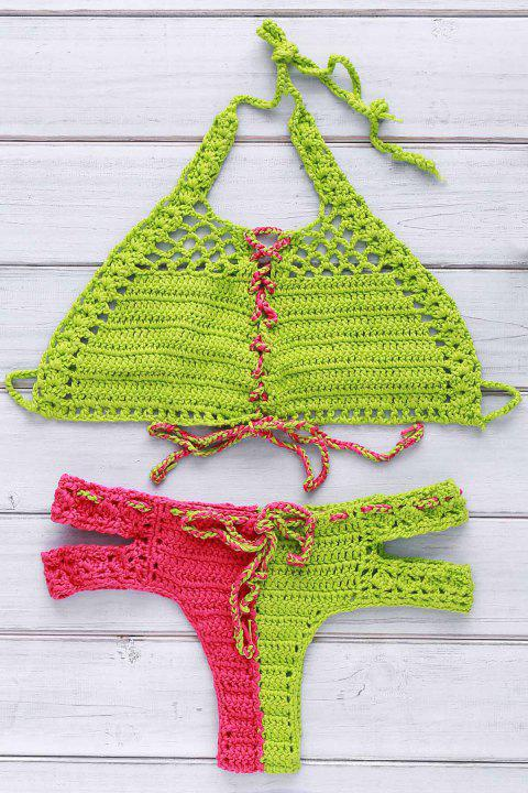 Chic Halter Lace-Up Cut Out Hit Color Crochet Bikini For Women - RED/GREEN XL