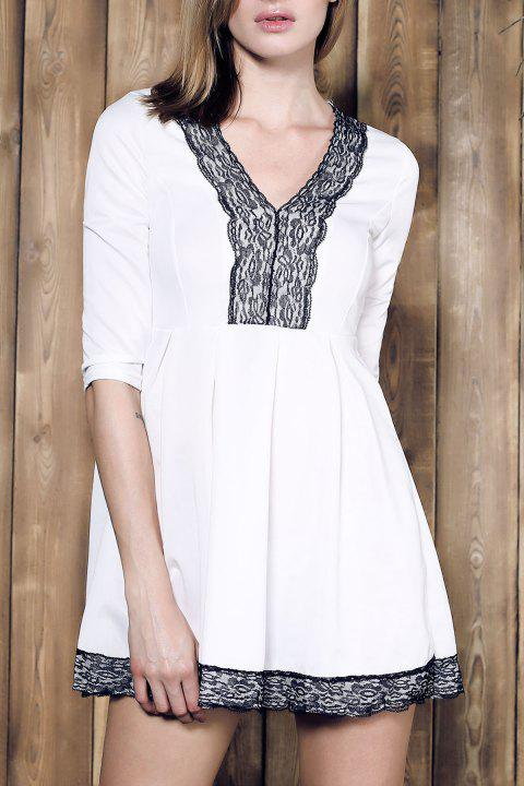Attractive Plunging Neck Lace Spliced Pleated Mini Dress For Women - WHITE M