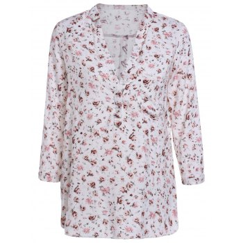 Sweet Women's V-Neck 3/4 Sleeve Floral Printed Blouse