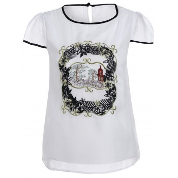 Stylish Jewel Neck Short Sleeve Print Voile T-Shirt For Women