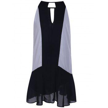 Trendy Sleeveless Black and White Spliced Chiffon Dress For Women