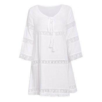 Simple 3/4 Sleeve Scoop Collar Pure Color Women's Dress - WHITE S
