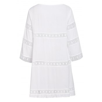 Simple 3/4 Sleeve Scoop Collar Pure Color Women's Dress - WHITE WHITE