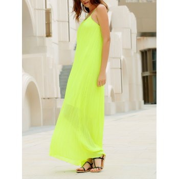 Fashionable Round Collar Solid Color Crumple Sleeveless Maxi Dress For Women