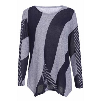 Stylish Women's Scoop Neck Long Sleeves Geometric Printed Irregular Hem T-Shirt