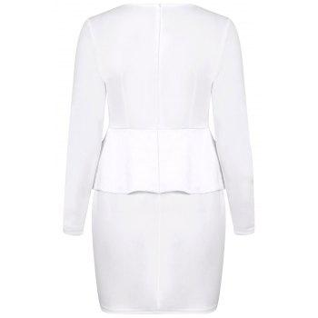Stylish Plunging Neck Solid Color Slimming Long Sleeve Dress For Women - Blanc L