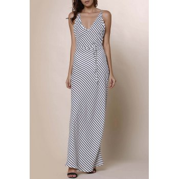 Stylish Spaghetti Strap Striped Backless Women's Maxi Dress
