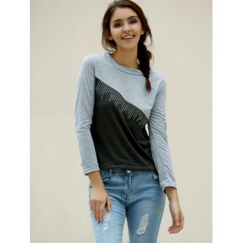 Casual Women's Jewel Neck Color Splicing Diamonds T-Shirt - GRAY M