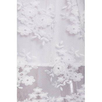Lace See-Through Long Sleeve Summer Wedding Dress - WHITE S