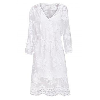 Sweet Style Solid Color Lace See-Through Long Sleeve Dress For Women
