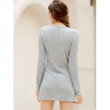 Simple Scoop Neck Long Sleeve Bodycon Color Blcok Women's Dress - LIGHT GRAY M