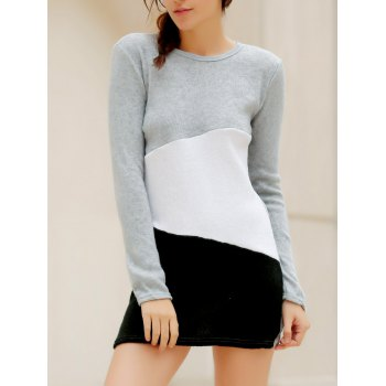 Simple Scoop Neck Long Sleeve Bodycon Color Blcok Women's Dress - LIGHT GRAY L