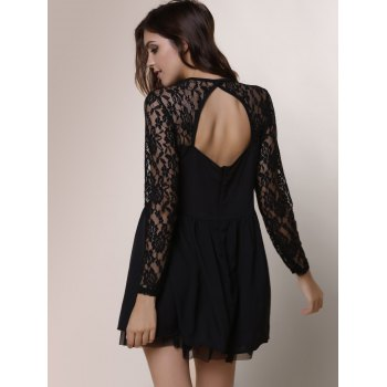 Alluring Round Neck Long Sleeve Hollow Out Solid Color Women's Dress - S S