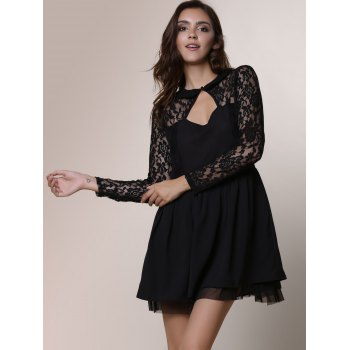 Alluring Round Neck Long Sleeve Hollow Out Solid Color Women's Dress - L L