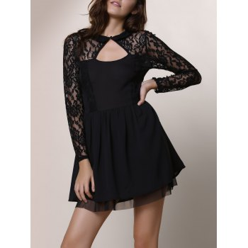 Alluring Round Neck Long Sleeve Hollow Out Solid Color Women's Dress - BLACK BLACK