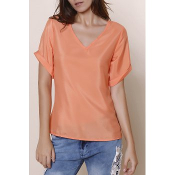 Simple V-Neck Solid Color Short Sleeve Chiffon Women's T-Shirt