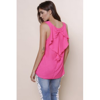 Stylish Sleeveless Scoop Collar Bowknot Design Embroidery Women's Tank Top - ROSE XL