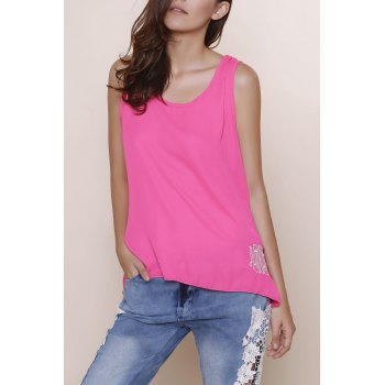 Stylish Sleeveless Scoop Collar Bowknot Design Embroidery Women's Tank Top