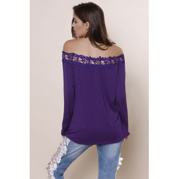 Sexy Lace Spliced Hem Off-The-Shoulder Purple Blouse For Women - DEEP PURPLE S