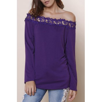 Sexy Lace Spliced Hem Off-The-Shoulder Purple Blouse For Women