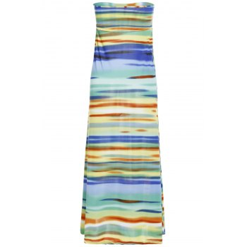 Stylish Mid-Waisted Colorful Printed Women's Maxi Skirt - COLORMIX S