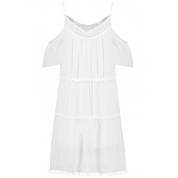 Stylish White Off The Shoulder Spaghetti Strap With Lace Women's Dress - WHITE M