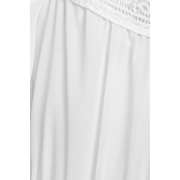 Stylish White Off The Shoulder Spaghetti Strap With Lace Women's Dress - M M