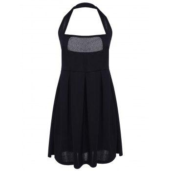 Sexy Halter Sleeveless Solid Color Low Cut Women's Dress