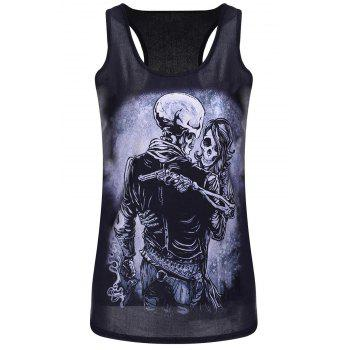 Sleeveless U Neck Skull Print Tank Top