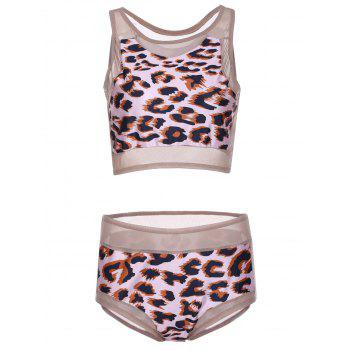 Sexy High-Waisted Round Neck Leopard Print Two-Piece Women's Swimsuit