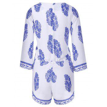 Sexy Women's Plunging Neckline Flared Sleeve Print Romper - BLUE S