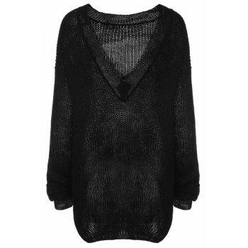 Trendy Long Sleeve Scoop Collar Loose-Fitting Women's Black Sweater